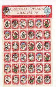 USA National Wildlife Federation Christmas Stamps 1979 Sheet of 36 MNH