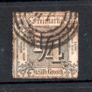 Thurn & Taxis 1862 1/4sg black fine used #26 WS12794