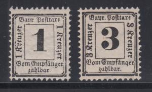 Bavaria Sc J2a-J3a MNH. 1870 Postage Dues, perf 11½, wide lozenges watermark
