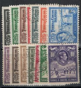 Turks and Caicos 1938-1945 SC 78-89 Used Set SCV $73