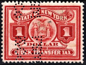 ST98 $1.00 New York State Stock Transfer Stamp (1919) Perfin