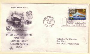 United Nations FDC Sc. # 123 Maritime Org. Ships       L 59