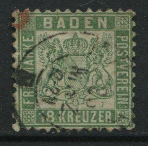 Baden 1862 18 kreuzer green used