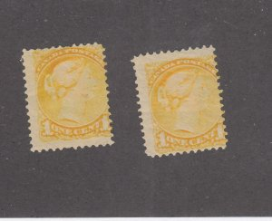 CANADA # 35  VG-MH  1cts  2 QV SMALL QUEEN /YELLOW /1870-93 CAT VALUE $20