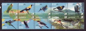 Jamaica-Sc#984-Unused NH block-Birds-Woodpecker-Cuckoo-Warbler-2004-