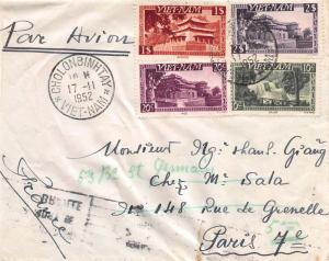 Viet Nam, Scott #1, 2, 6, 8, on 1952 Cover Sent to Paris, France