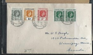 LEEWARD ISLANDS (P2808BB) 1950 KGVI 2ND COLORS 1/2D-2D ST JOHNS TO CANADA