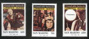 San Marino Scott 1202-1204 MNH** 1990 cinema stamp set
