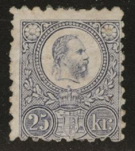 Hungary Scott 12 MH*  1871-1872 Franz Joseph engraved CV$200 see notes and scans