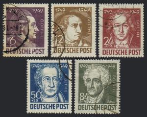 Germany-GDR 10NB6-10NB10,used.Michel 234-238. Johann Wolfgang von Goethe,1949.