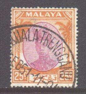 Malaya Trengganu Scott 62 - SG80, 1949 Sultan 25c used