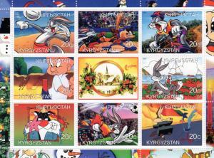 Kyrgyzstan 2000 Bugs Bunny/Mr.Magu/Christmas Issue Shlt (9) Perforated MNH VF