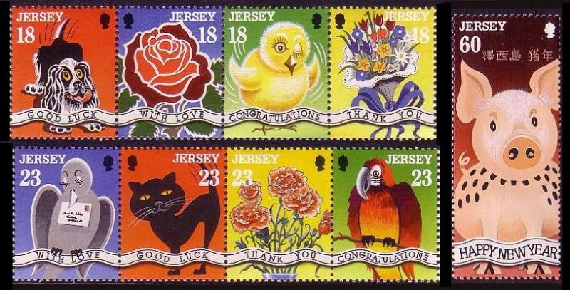 Jersey Birds Greetings Stamps 9v SG#684-692