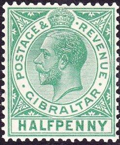 GIBRALTAR 1917 KGV 1/2d Yellow-Green SG76a MH