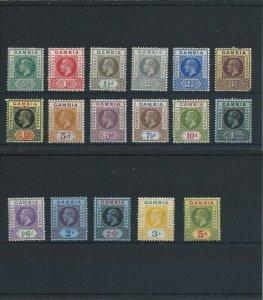 GAMBIA 1912-22 SET OF SEVENTEEN MM SG 86/102 CAT £200