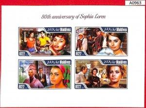 A0963 MALDIVES - ERROR  IMPERF SHEET - 2014  SOPHIA LOREN CINEMA СОФИ ЛОРЕН КИНО