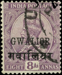 India, Convention States, Gwalior Scott #59 SG #74 Used