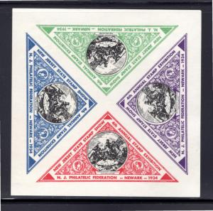 1934 New Jersey State Stamp Show - 4th Annual Exposition - Imperf - Block of 4