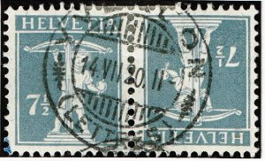 Switzerland Stamp  tête-bêche pair used stamp collection lot  7 1/2c