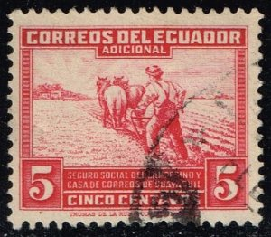 Ecuador #RA48 Farmer Plowing; Used (0.25)