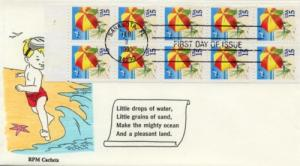 1990 Beach Umbrella Full Pane of 10 (Scott 2443a) RPM FDC