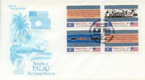 1983 Palau Inaug Postal Service Blk(1-4) - Artmaster Cachet
