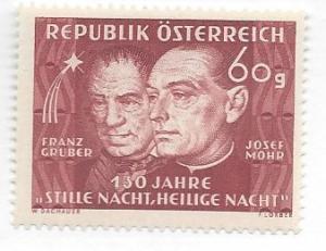 Austria, 558, Franz Gruber/Josef Mohr  Light Color Single, **LH** (LL2018)