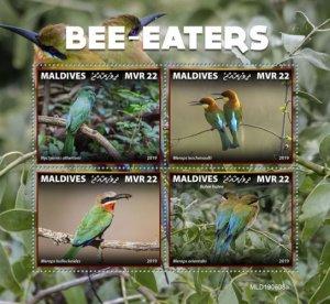 MALDIVES - 2019 - Bee-eaters - Perf 4v Sheet - MNH