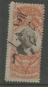 UNITED STATES  R140  USED,  PERFED,  GEORGE WASHINGTON,  REVENUE STAMP
