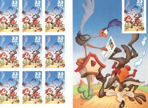 Stamp US Sc 3391 Sheet 2000 Road Runner Wile E. Coyote Looney Tunes Cartoons MNH