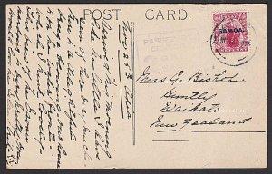 SAMOA 1916 1d NZ overprint on postcard - Apia cds - No.2 GRI CENSOR.........J564