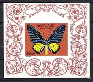 Nagaland, 1969 India Local. Butterflies, IMPERF s/sheet.