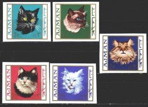 Ajman. 1968. 318B-22B. Cats. MNH.
