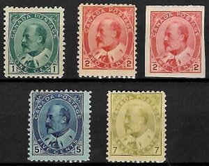 Canada #89 to 92 + #90A Mint LH/H C$1060.00 (89 and 91 NH)