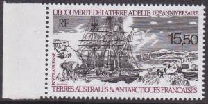 French Southern Antarctic Territory # C110, Discovery of Adelie, NH, 1/2 Cat.
