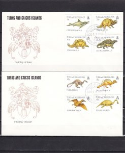 Turks & Caicos, Scott cat. 1035-1042. Dinosaurs on 2 First Day Covers. ^