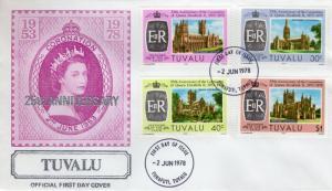 Tuvalu 1978 Sc#81/84 Coronation 25h.Anniv.Cathedrals/Religion Set (4) FDC
