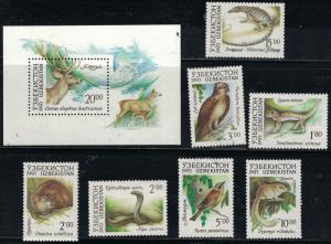 Uzbekistan SC7-14 w/Souv.Sht.-Wild Animals&Birds MNH 1993