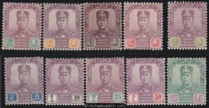 1904-10 Malaya Johore 1c - $1 Sultan (10), SG 61-70, MH