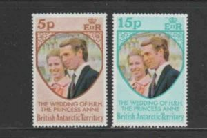 BRITISH ANTARCTIC TERRITORY #60-61 WEDDING OF PRINCESS ANNE MINT VF NH O.G