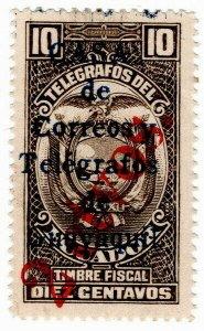 (I.B) Ecuador Telegraphs : 2c on 10c OP (Guayquil)
