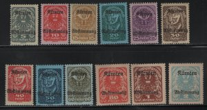 AUSTRIA, B11-B21, (12)SET, HINGED, 1920, ISSUE OF THE REPLUBIC
