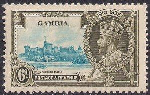 Gambia 1935 KGV 6d Light Blue & Green Silver Jubilee MM SG 145  ( F49 )