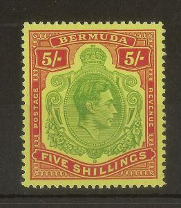 Bermuda 1950 GVI 5/- Keyplate SG118g 'Scarlet' Perf 13 MNH Cat£60
