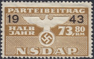 Stamp Germany Revenue WWII 1943 3rd Reich War Era Party Dues 73.80 MNG