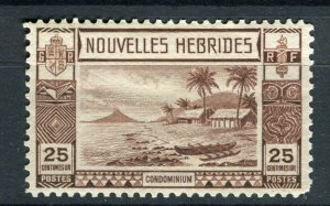 FRENCH; NEW HEBRIDES 1938 early pictorial issue fine Mint hinged 25c. value