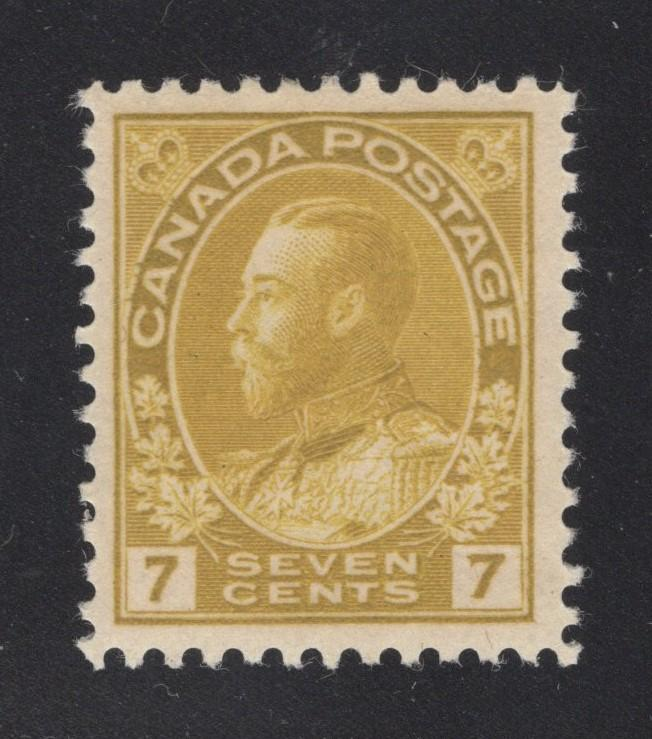 Canada #113a Olive Bister - 7 Cents - Unused - O.G. - VF+