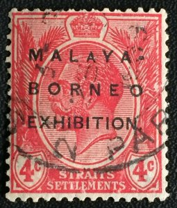 Malaya-Borneo Exhibition opt Straits Settlements KGV 4c USED MSCA Small A SG#252