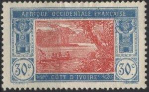 Ivory Coast 56 (mh, thin) 30c river scene, lt blue & rose red (1926)