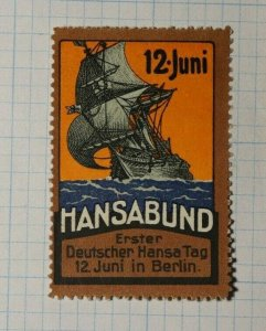 Hansabund 1st German Hansa Day Berlin Ship Exposition Poster Stamp Ads